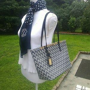 Navy & Black Pattern Shoulder Bag